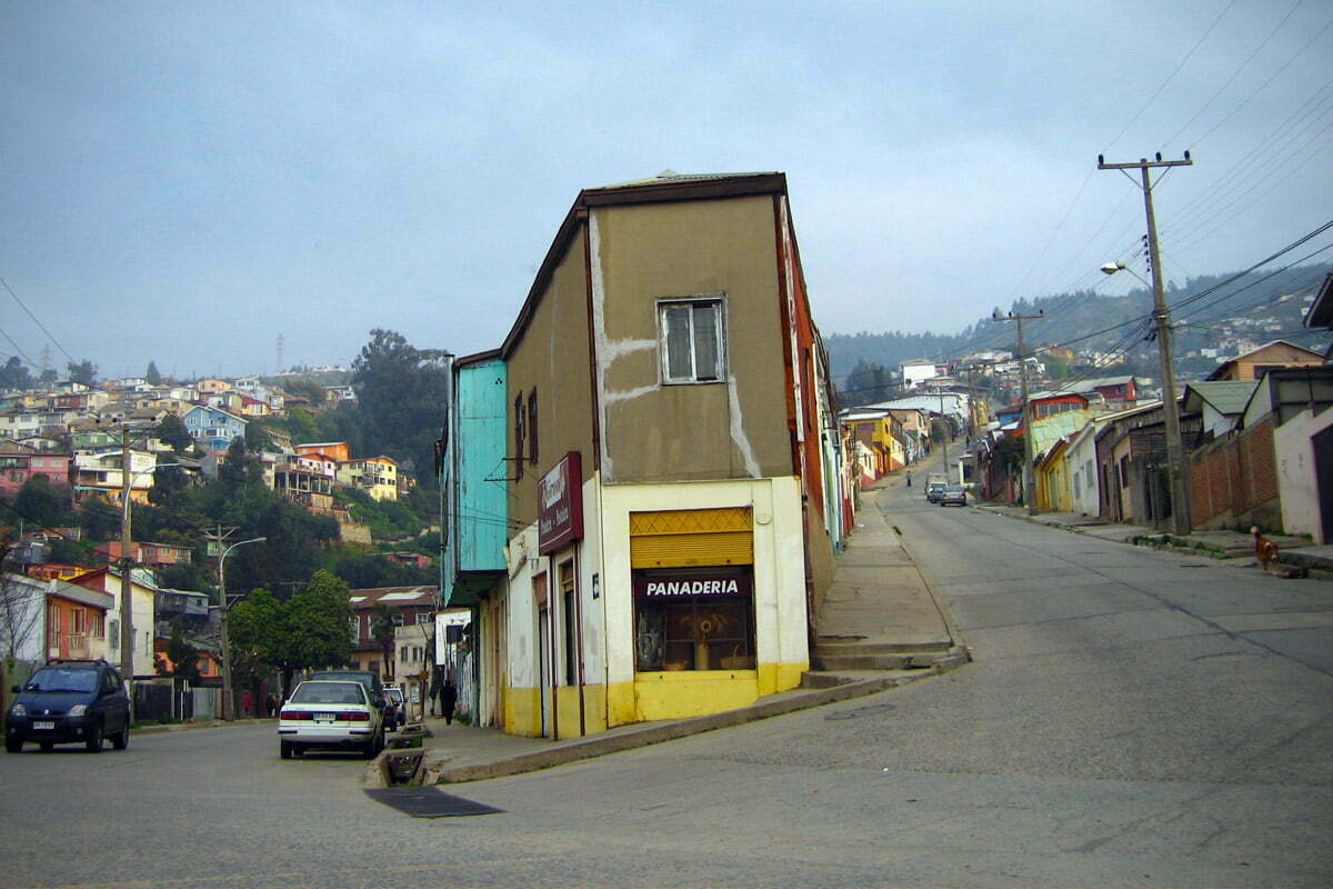 A street corner in Valparaíso, Chile
