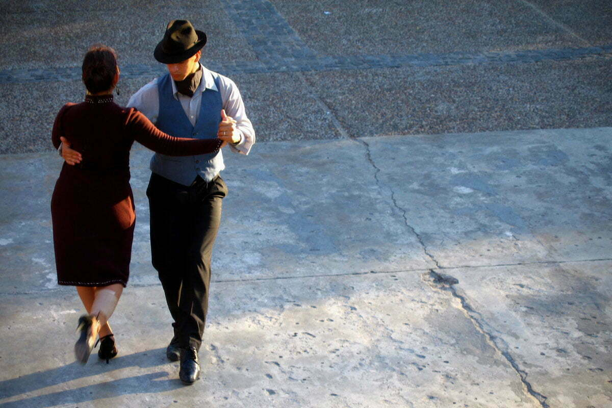 A man and woman dance the tango in Buenos Aires, Argentina