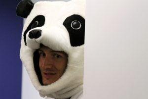 Sunlight intern Patrick in the famous Panda suit.