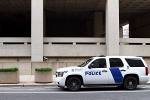 A police vehicle outside the headquarters of the FBI in Washington DC.