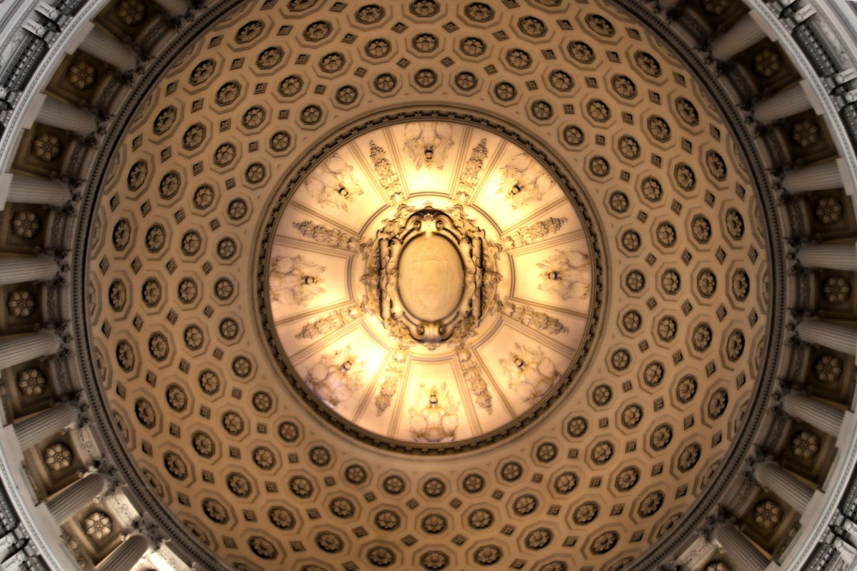 Looking up at the rotunda in the city legislature and civic hall building in San Francisco.