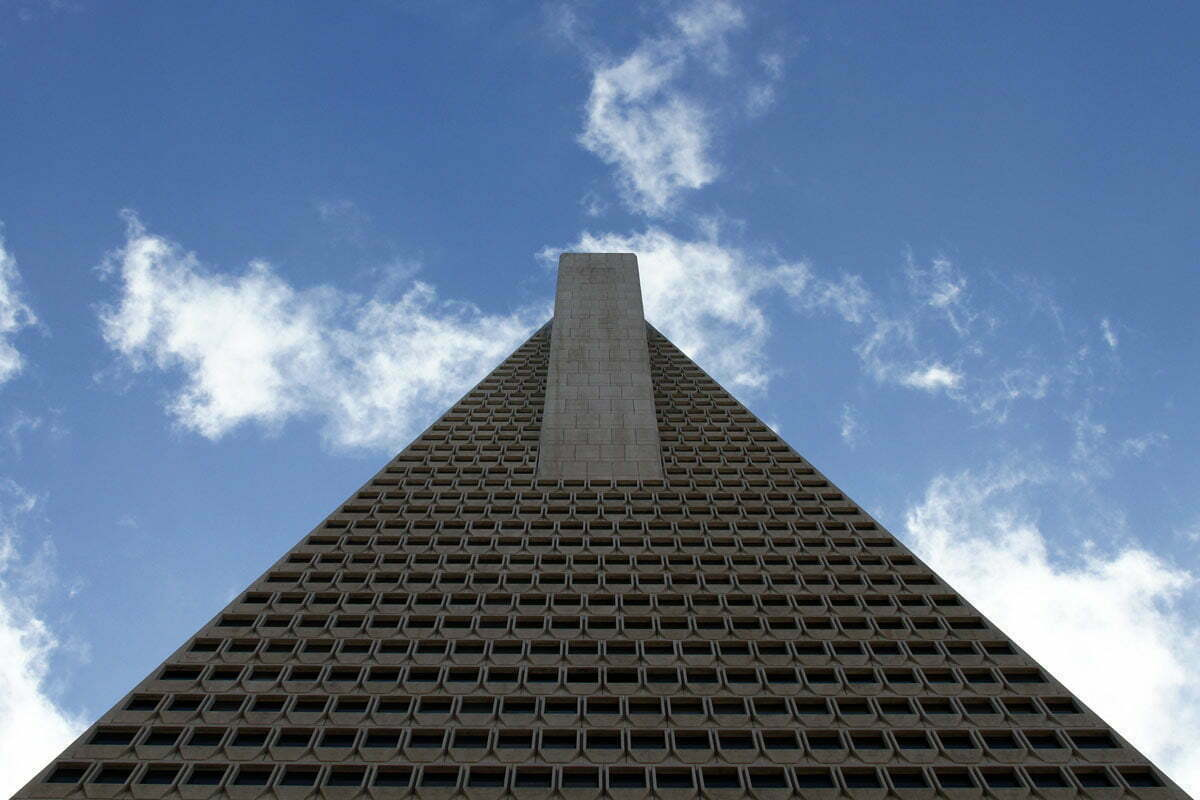 A view up the side of the iconic Transamerica Pyramid Building at 600 Montgomery Street in San Francisco, CA.