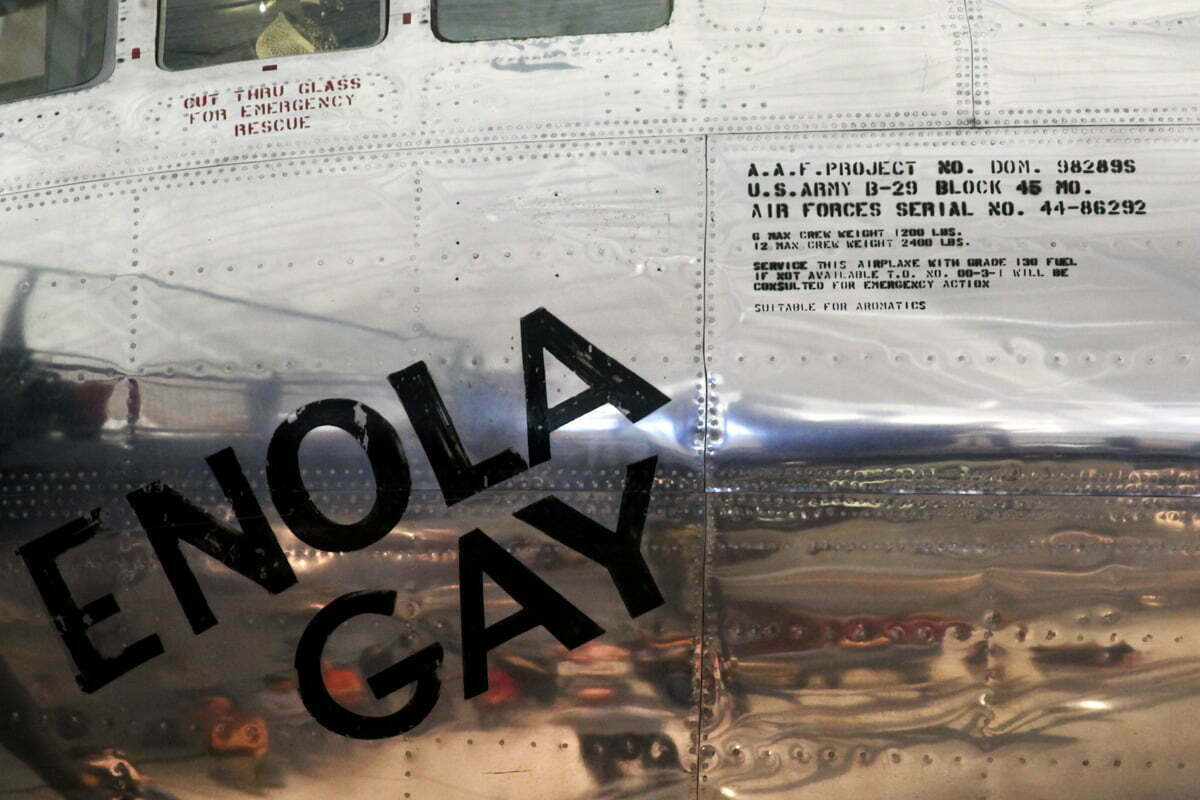 A photograph of the writing on the side of the B-29 cockpit on the Enola Gay