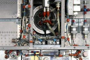 The complex internal wires of Hexagon, the Cold War era spy satellite.