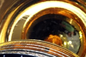 The gold blast shield of Hexagon, the Cold War era spy satellite.