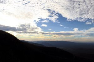 A cropped panoramic view of the Blue Ridge Mountains taken from Humpback Rock.