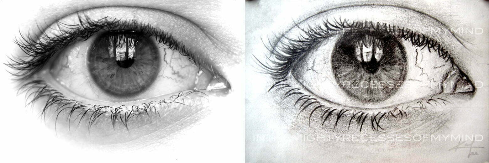 A black and white close-up photograph of an eye next to the drawing that it inspired.
