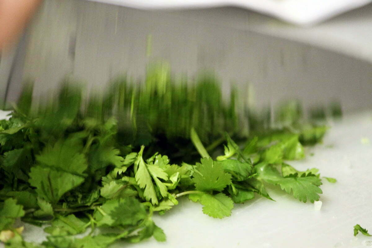 A blurred kitchen knife cuts into a pile of bright green cilantro herbs.