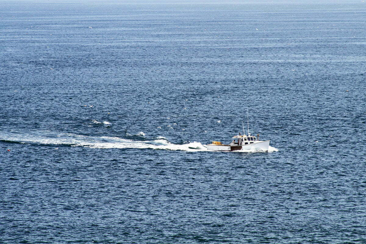 A Maine lobster boat traveling through blue choppy waters with gulls trailing behind near a lighthouse.