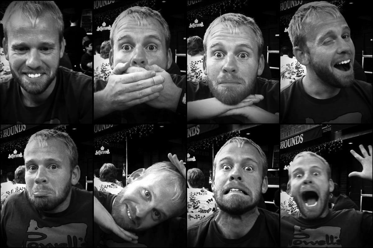 An eight photo series known as an octuplet in black and white of my friend Mark.