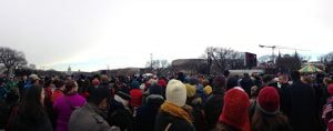 A panoramic photo of the crowds on the National Mall for Barack Obama's second inauguration.