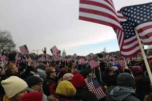 American flags wave during the second presidential inauguration of Barack Obama.