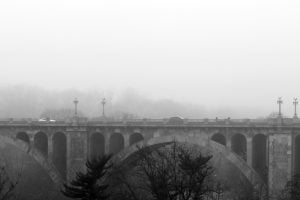 A foggy view over the Taft Bridge in Washington DC.