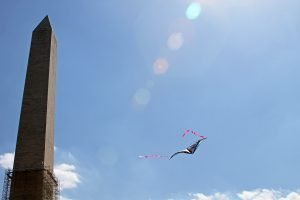 A kite flies near the Washington Monument at the annual Cherry Blossom Kite Festival on the National Mall.