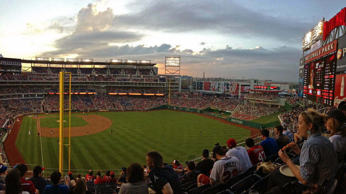 A panoramic photo taken from the upper deck at Nationals Park in Washington DC.