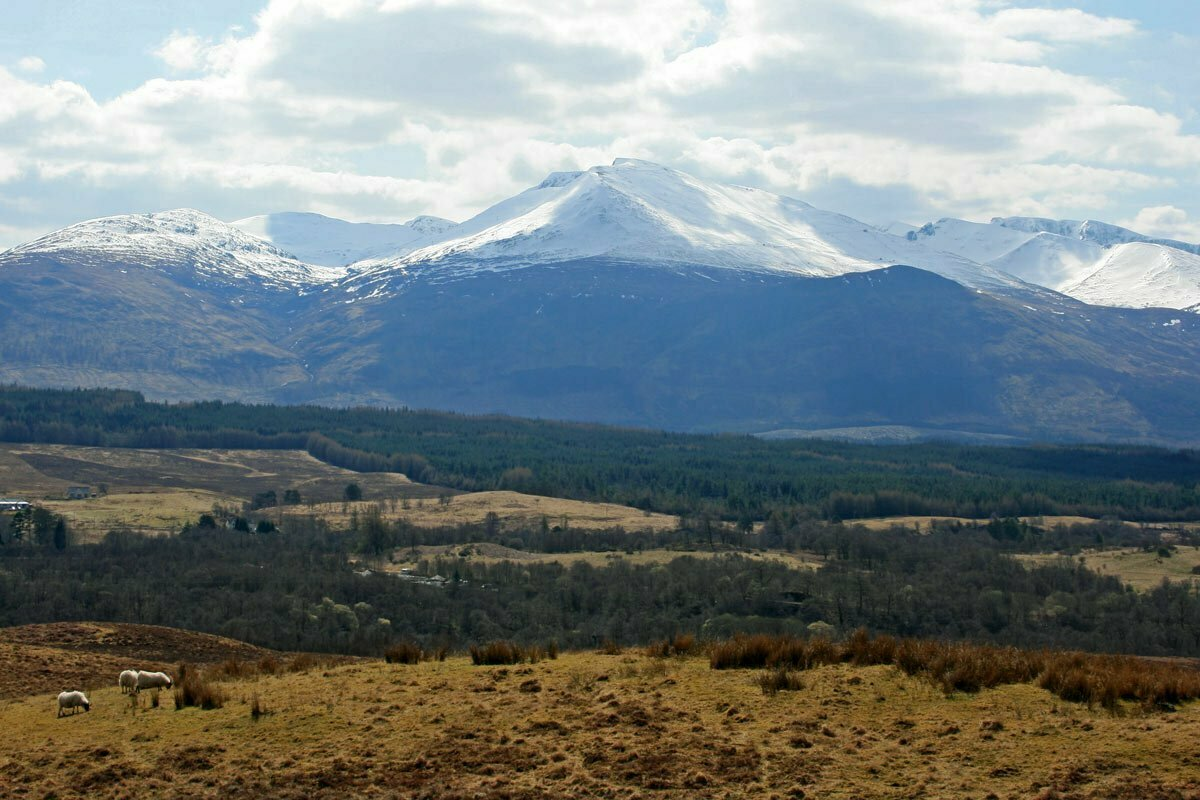 Ben Nevis, the highest mountain in the British Isles, seen from the Commando Memorial in Lochaber, Scotland.