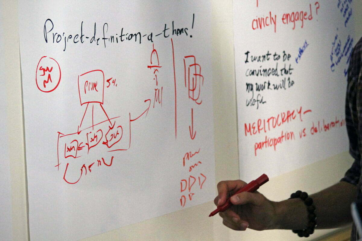 A number of TransparencyCamp attendees discuss hackathons by drawing on a large piece of paper.