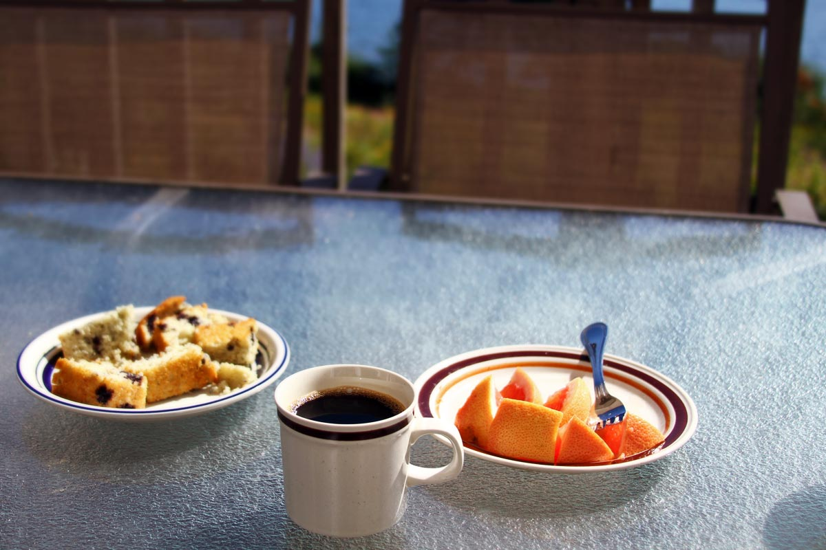 A breakfast of black coffee, blueberry muffins and grapefruit outside on a lake in Maine.