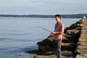 Me fishing off the breakwater in Maine.