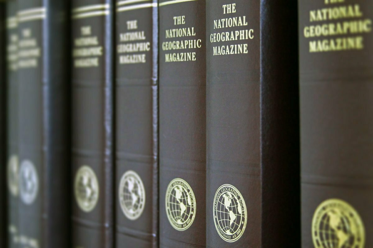 A row of bound book versions of The National Geographic Magazine.