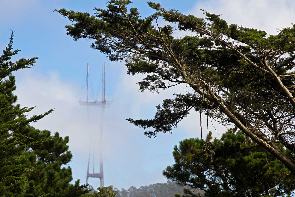 A partially obstructed view of Sutro Tower through some clouds as seen from the top of Strawberry Hill in Golden Gate Park in San Francisco.
