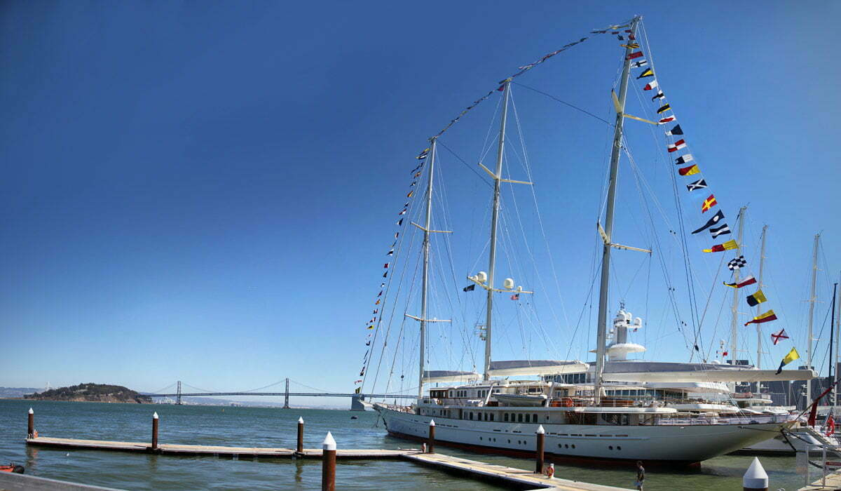 The super yacht, Athena, seen at the America's Cup sailing race in San Francisco, California.