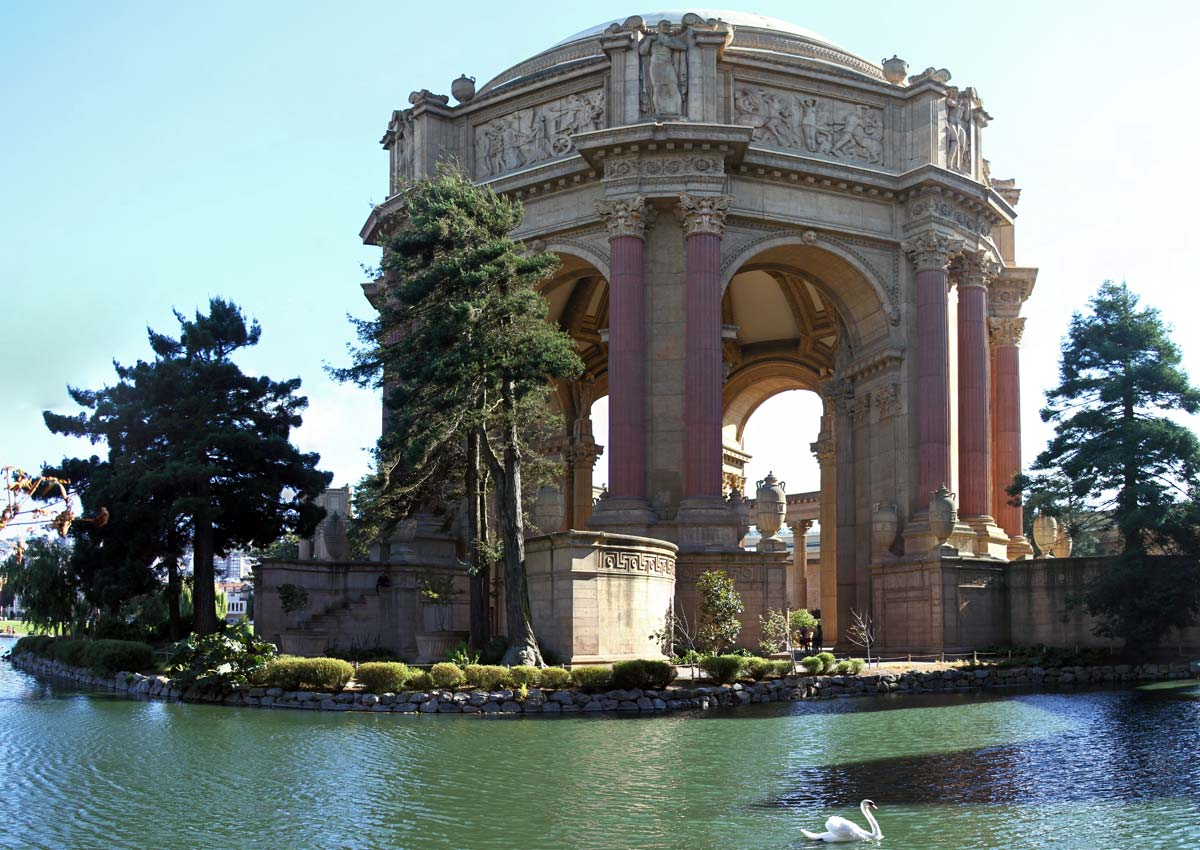 The Palace of Fine Arts seen on a clear day with a swan on the lake in San Francisco, California.