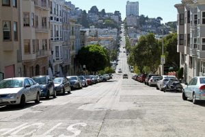 The view down the center of a steep street in San Francisco, California.