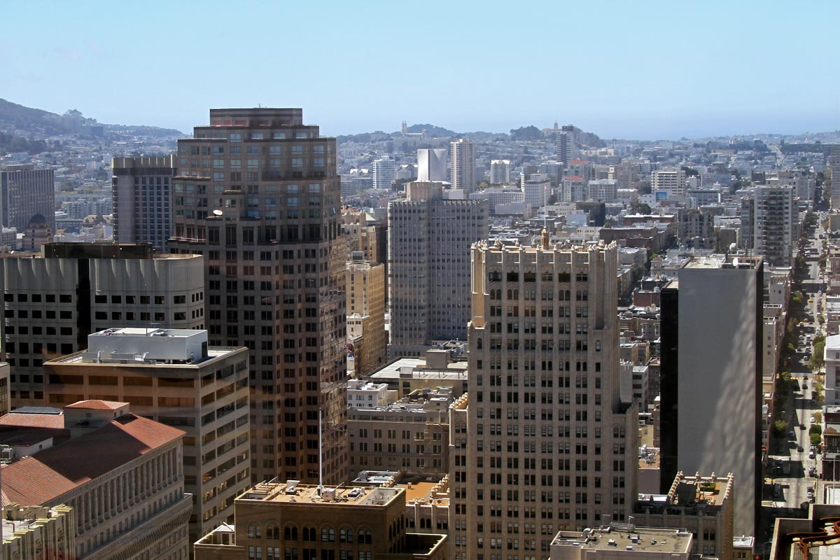 The view looking west from a large building in the financial district in San Francisco, California.