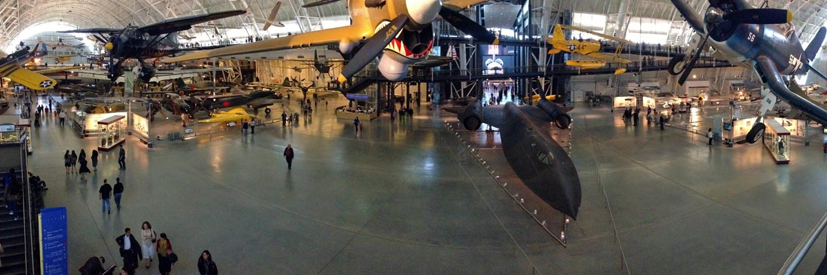 A panoramic photo of the airplanes, SR-71 and space shuttle in the Udvar-Hazy Center at the National Air and Space Museum in Virginia.