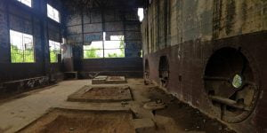 A panoramic photo of the inside of an abandoned hydroelectric power plant built by the Virginia Electric Power Company on Belle Isle in Richmond, Virginia.