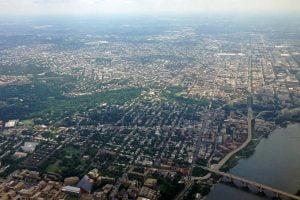 An aerial photo of northwest Washington DC.