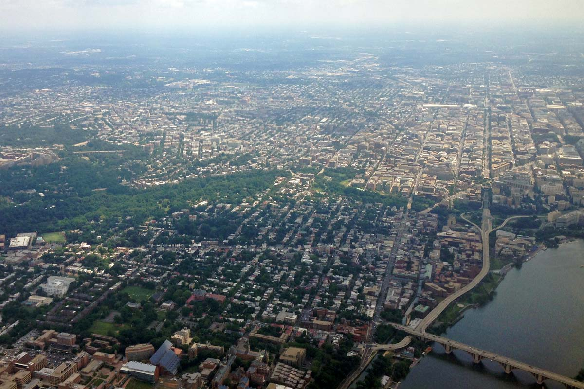 An aerial photo of northwest Washington DC including much of Georgetown and the Potomac River.