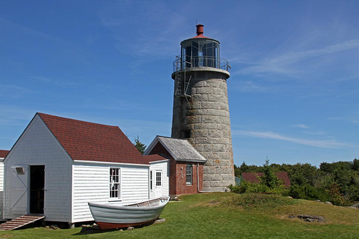 The conical stone lighthouse on Monhegan Island in Maine.