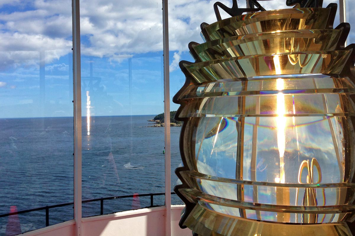 A picture of the light inside the lighthouse at Owl's Head, Maine.