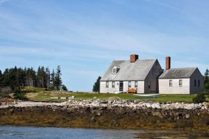 The Wyeth home seen on Benner Island, Maine.