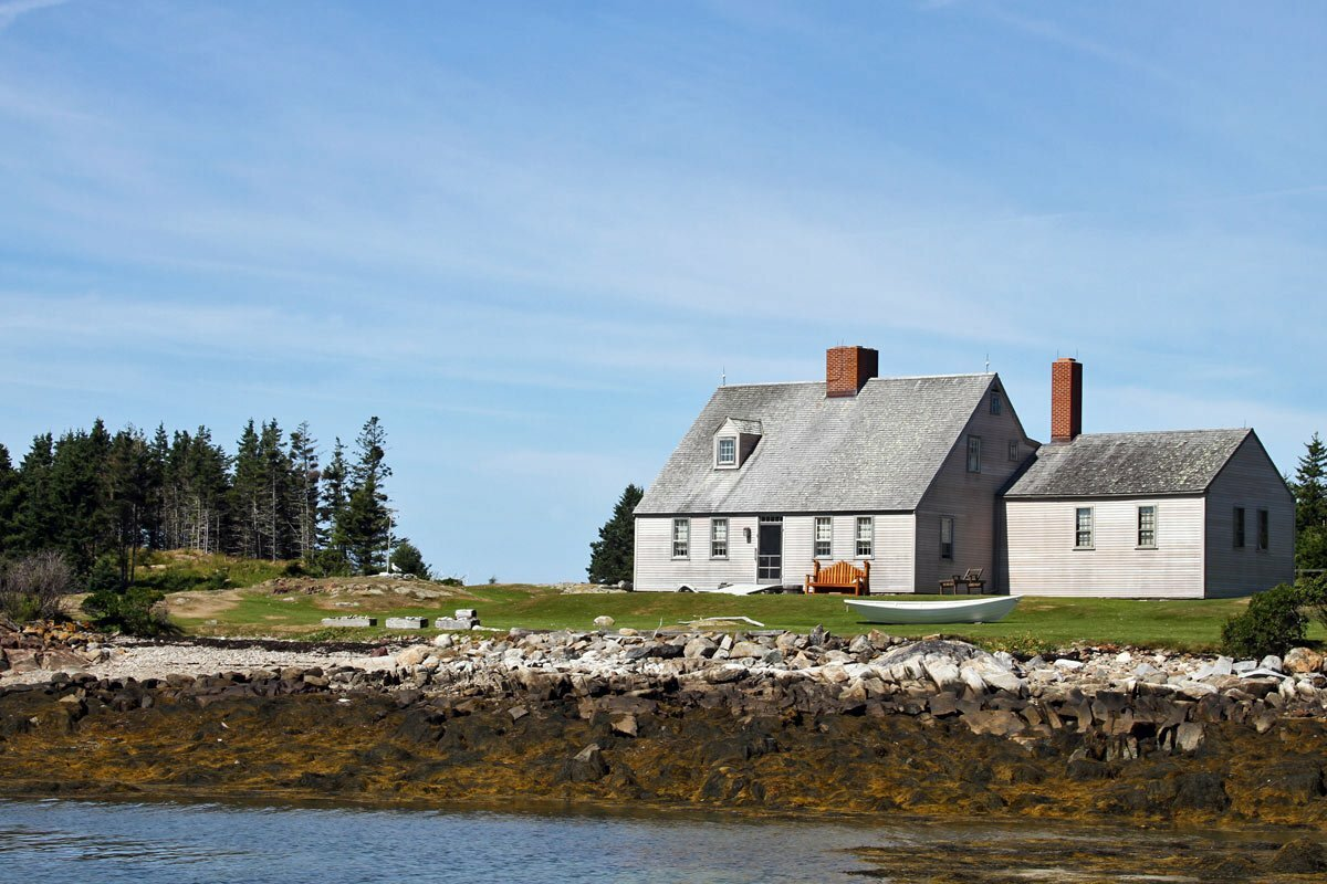 The Wyeth home seen on Benner Island, Maine.