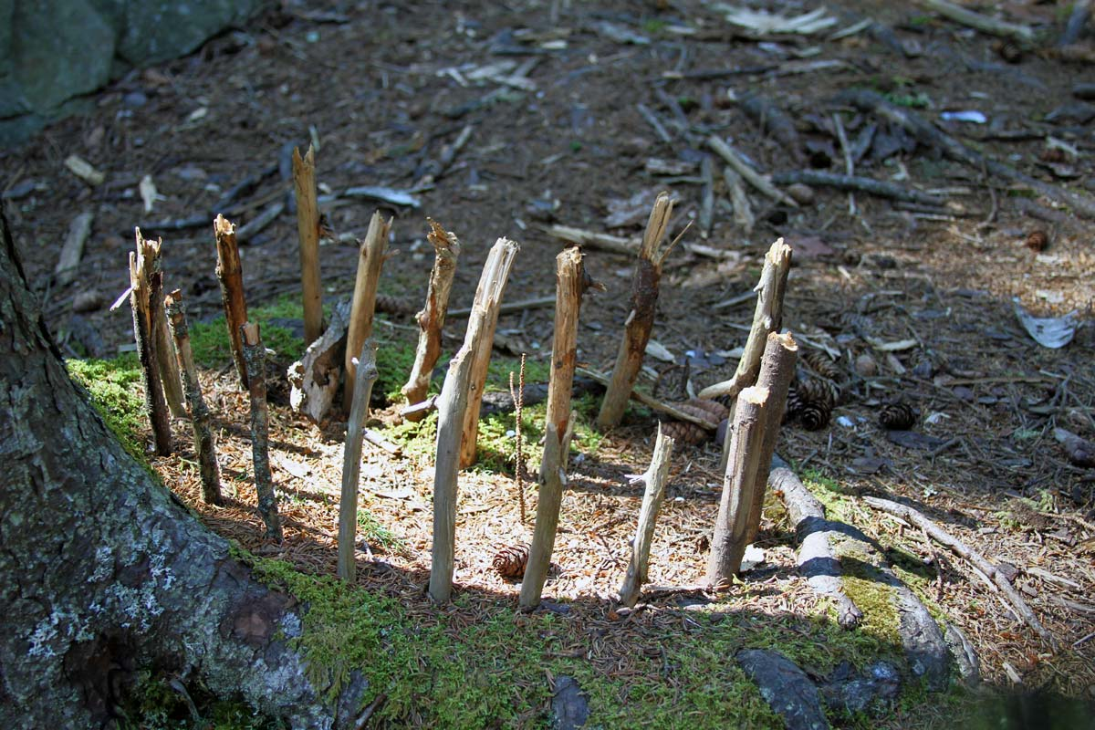A circle of sticks seen near the fairy houses on Monhegan Island in Maine.