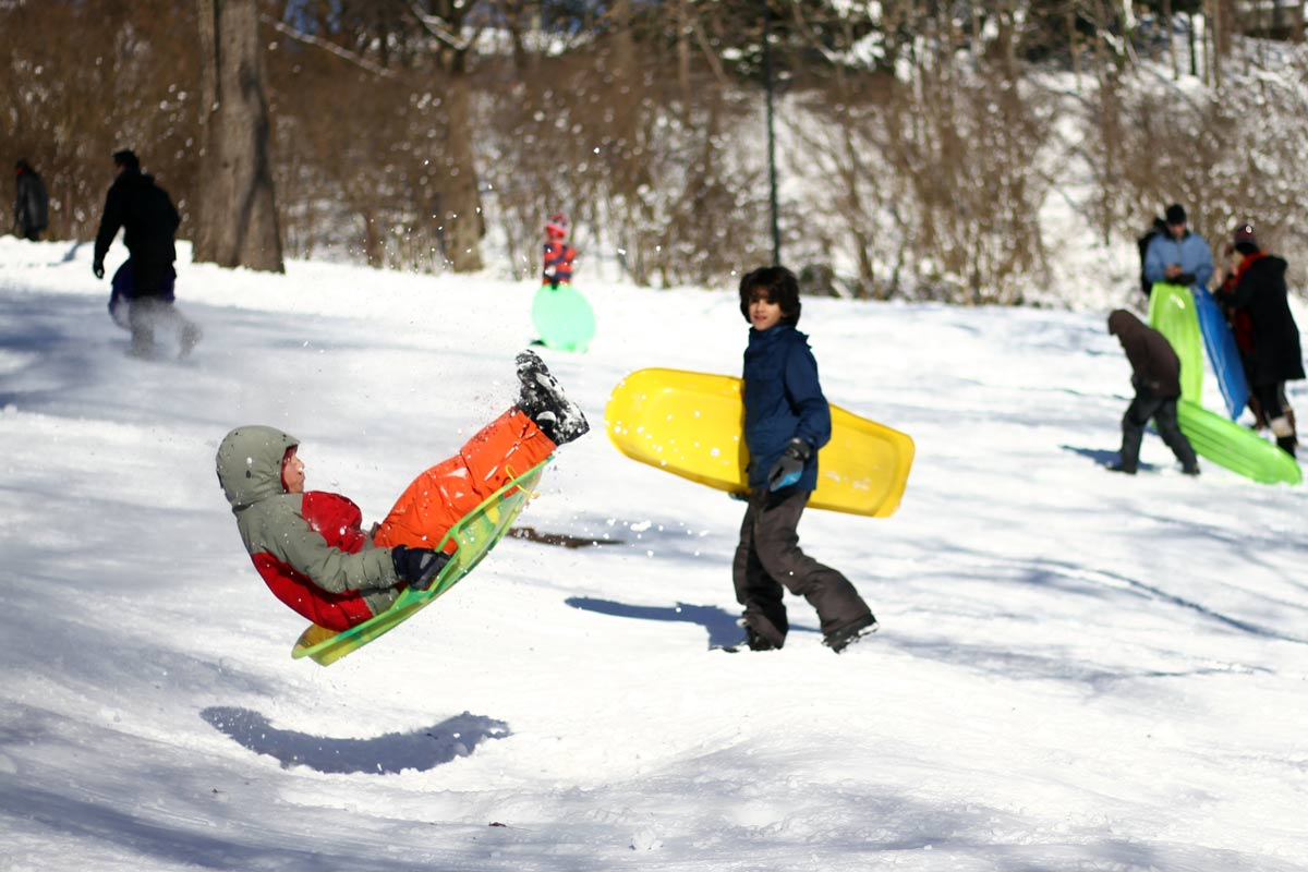 A big jump in the snow from a young sledder in Washington DC during Winter Storm Jonas, also known as Snowzilla.