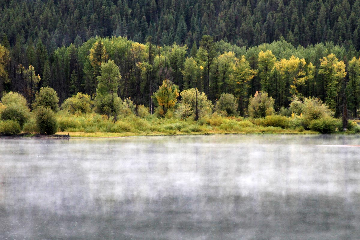Fog on the water is seen on a cold morning at Grand Teton National Park in Wyoming.