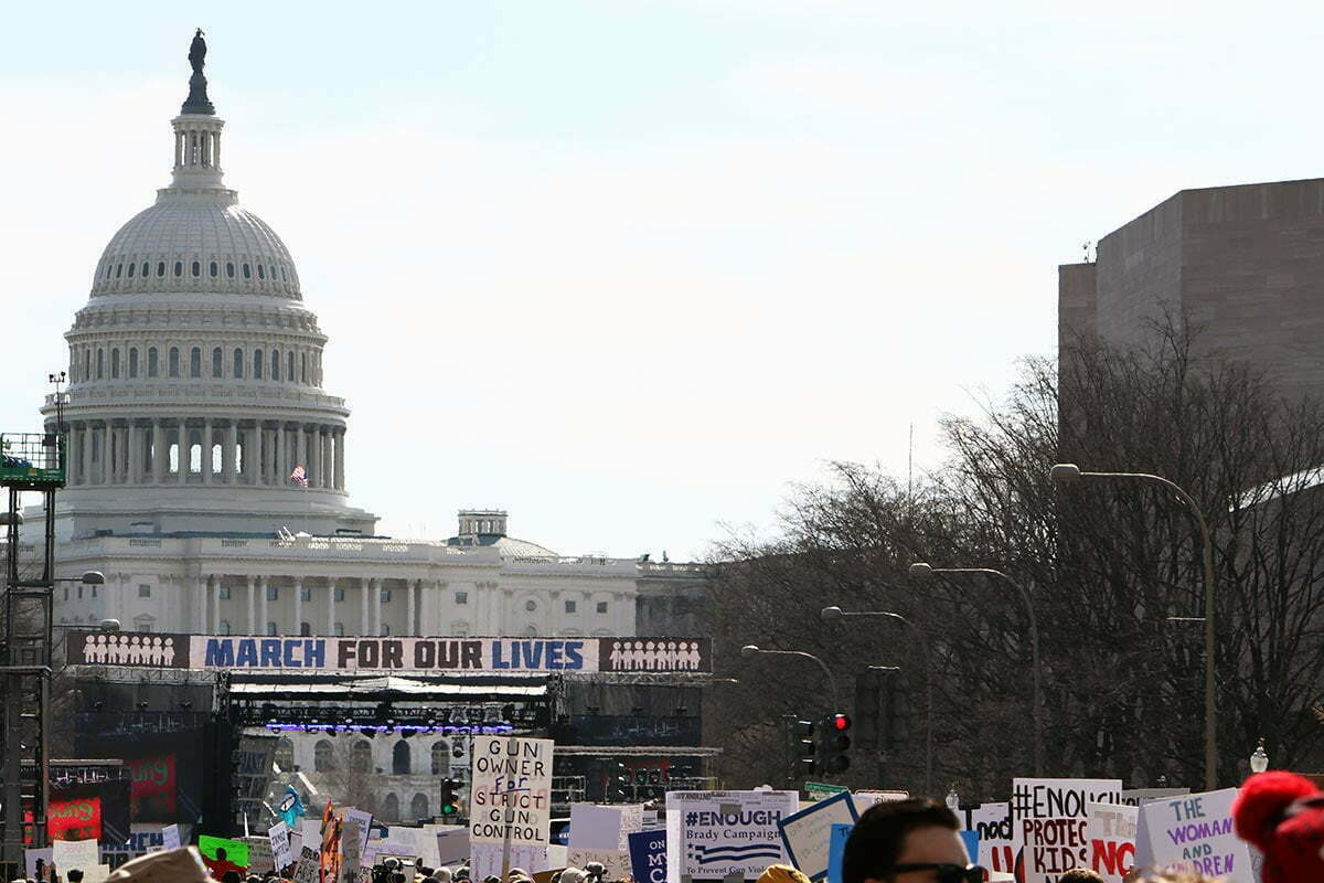 The United States Capitol is seen from Pennsylvania Avenue during the March for Our Lives in Washington DC.