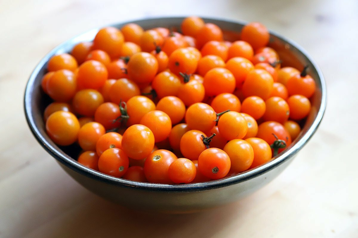 A bowl of bright red and orange cherry tomatoes sits in the sun on a wooden table.