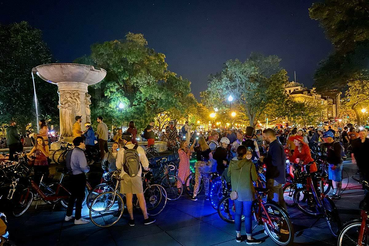 Participants of the DC Bike Party gather at Dupont Circle before their monthly ride around the city.