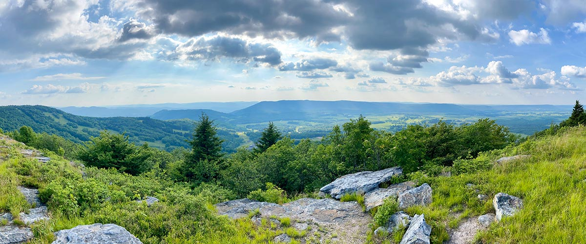 A panoramic view on a beautiful summer day over Canaan Valley in northeastern Tucker County, West Virginia.