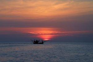Shrimp Boat at Sunset — Thailand